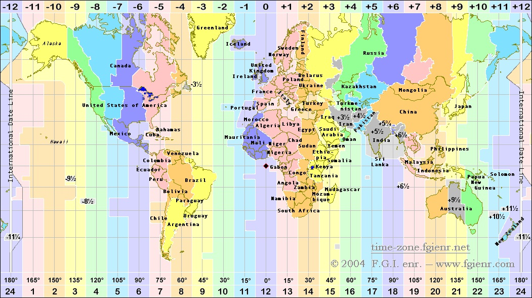In Time Zone Map.Time Zones
